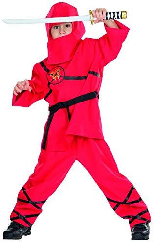 Rubie's Ninja rot Kostüm Größe 104 Kinder Karneval Asiatischer Elite Kämpfer