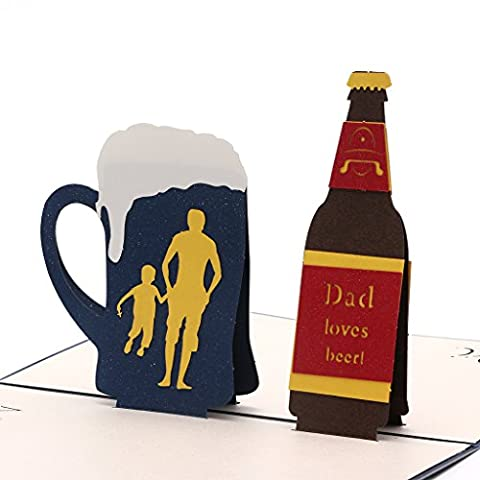 UncleS Beer 3D Pop Up Greeting Cards, 5.12x5.91 inches, Gift for Birthday Wedding Invitation Anniversary Merry Christmas Teacher's Day Thanksgiving Congratulation, Blue