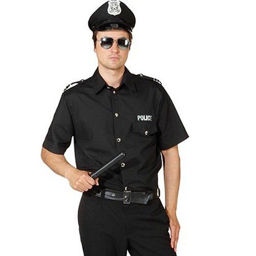 Herren-Hemd Police schwarz, Gr. 50-52 (Schwarz Police Gedruckt)