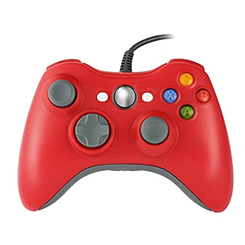 Homgrace XBOX 360 Controller USB Gamepad Game Controller Kabelgebunden Joypad für Windows PC / Android Handy / PS3 / Smart TV / Tablet (Rot)