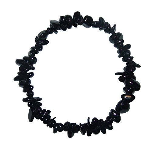 Turmalin schwarz Schörl Splitter Armband Turmalin auf elastischem Band