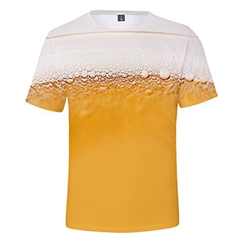Männer Wiesn Kostüm - Chejarirty Oktoberfest T-Shirt Herren Oversize Basic Kurzarm 3D Bier Drucken Sommer T Shirts Mit Rundhals-AusschnittMänner Oktoberfest Wiesn Kostüm Funshirt Bier Bedruckt Oberteile (4XL, Gelb)