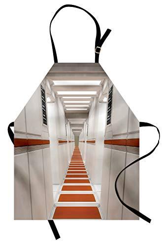 ochschürze, Spacelaunch-Raumschiff-futuristischer Innenkorridor Mars Planet World Image, Farbfest Höhenverstellbar Waschbar Klarer Digitaldruck, Weiß und Rot ()