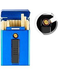 AUOKER Caja de Cigarrillos con Encendedor Electrico, 20PCS Caso de Cigarrillo Delgado Regulares, Recargable Encendedor Eléctrico Poseedor con Cable USB para Mujer - Sin Llama, Resistente al Viento