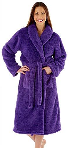 Ladies Fleece Dressing Gown Luxury Robe Navy Blue Pink Purple - Size 10 12 14 16 18 20 22 24 - 41CxetF1jrL - Ladies Fleece Dressing Gown Luxury Robe Navy Blue Pink Purple – Size 10 12 14 16 18 20 22 24