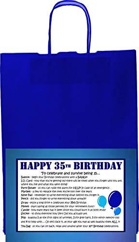 WISHES CAN COME TRUE 30th 40th 50th 60th 70th 35th 55th 65th Birthday Survival Kit Geschenk für Männer Vater Opa Freund Onkel Bruder, 35th Blue
