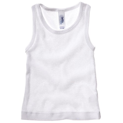 New Bella Canvas Baby Infant Baumwolle 2 x 1 Rib Tank Top Weste Gr. 6-12 Monate, Weiß - Weiß