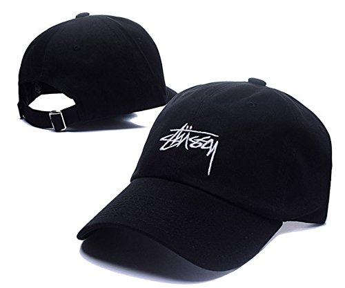 Stussy Snapback Hats Classic Men & Women's Fashion Peaked Cap Black 2 One Size