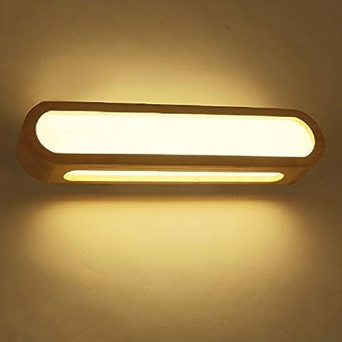 Crayom Japanisches Rechteck Hölzerne Wand-Lampe Massivholz-Spiegel-Scheinwerfer Einfache moderne japanische LED-Lichter LED-Flecken Drei Größen LED-Flecken ( Size : 16.9in (Rechteck Lampenschirme)