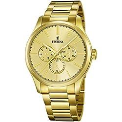 Festina - Reloj de cuarzo para hombre, correa de acero inoxidable chapado color dorado