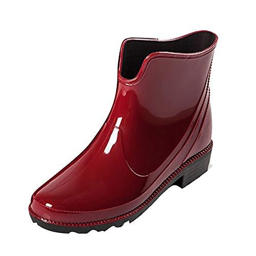 NINGSANJIN Damen Stiefeletten Chelsea Boots (Rot,39)