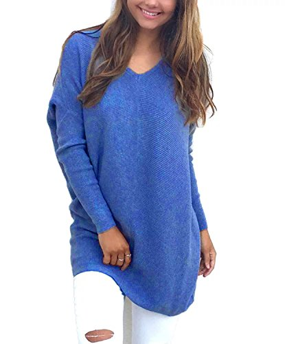 Yieune Sweatshirt Femme Col V Manches Longues Pull Automne Hiver Pullover Bleu