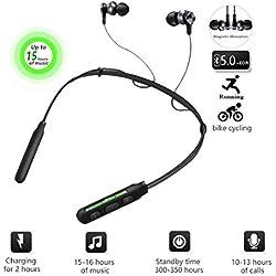 YOMYM Écouteurs Bluetooth V5.0 sans Fil, Oreillette Bluetooth Neckband avec Réduction Active de Bruit, Stéréo Étanche IPX5 Casque de Sport avec Micro (Noir)