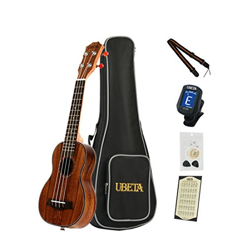 Ubeta US/c-k-062 acacia Koa soprano/Concert ukulele con Italia corde Aquila (5 in 1) Kit: custodia imbottita, accordatore a clip, corde di ricambio, plettri e tracolla 21 inches