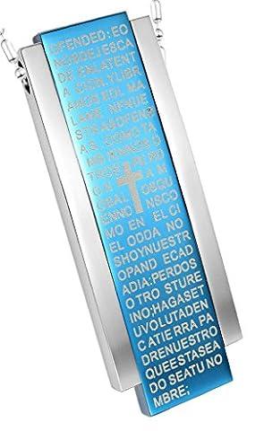 Men Rectangle Shape Bible Letter Cross S Blue Stainless Steel Pendant Necklace Blue Aooaz Jewelry