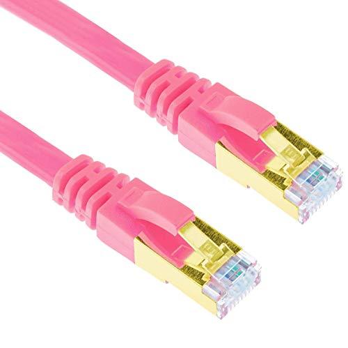 G-Shield 5m Cat7 Ethernet LAN Kabel 10 Gigabit 600MHz RJ45 Flachkabel - 5 Meter Rosa -