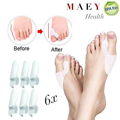 6 Professionelle Zehenspreizer von MAEY zur Korrektur von Hallux Valgus | Tragbar in Socken & Schuhen inkl. Ballenschutz | BPA frei | Damen & Herren | Für Tag & Nacht | Zufriedenheitsgarantie!