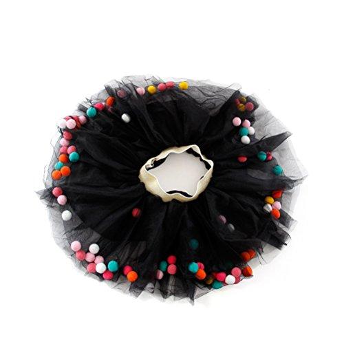 BESTOYARD Mädchen Mini Tutu Rock elastisch geschichteten Rock Tanz Leistung Fotografie Tüll Kleid mit Pom Pom Balls - Größe M (schwarz) (Niedliche Halloween Kostüme Für Schwarze Menschen)
