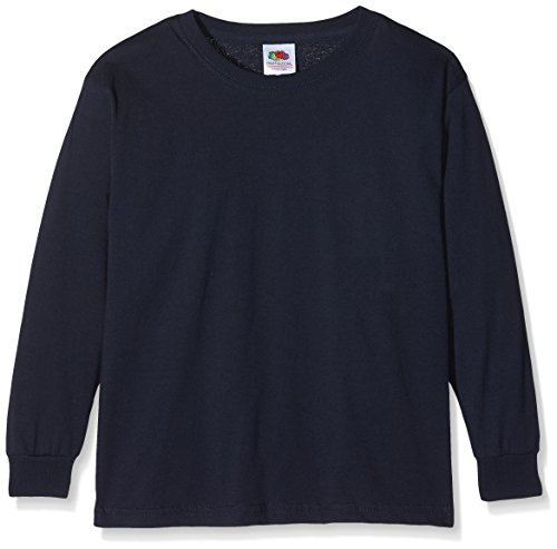 Fruit of the Loom Jungen Langarmshirt Valueweight Long Sleeve T Kids, Blau (Deep Navy 202), 116 (Herstellergröße: 5-6)