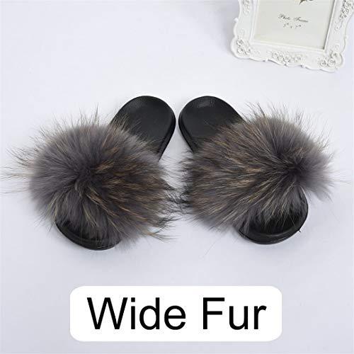 HULIMAOSER Frauen breiter Waschbär Hausschuhe Mode pelzigen Flauschigen Rutschen echte Sliders Flauschige Hausschuhe Grey 6.5 - Erde-schuh-sandalen Frauen