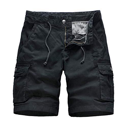 CHLCH Herren Sport Shorts Jogginghose KordelzugLatzhose, groß, Multi-Pocket schwarz 38