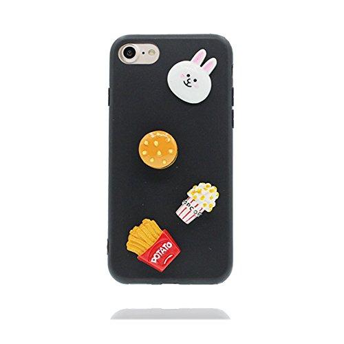iPhone 6S Copertura,iPhone 6 Custodia,Siluetta morbida del hamburger del coniglio del fumetto 3D[Prova di scossa]case Cover for iPhone 6S /6 4.7-nero nero
