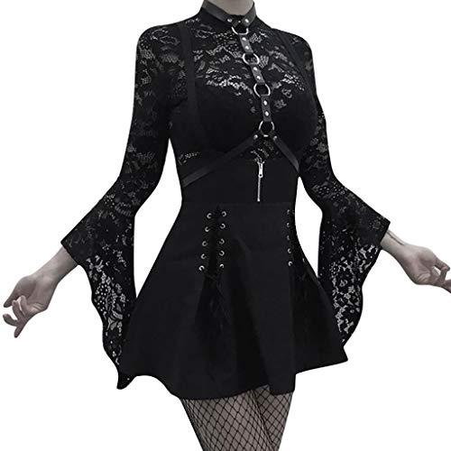 Huacat Gothic Kleid Vintage Kleid Korsage Retro Damen Kleider Kostüm Gothic Verkleidung für Cosplay Halloween Party Karneval