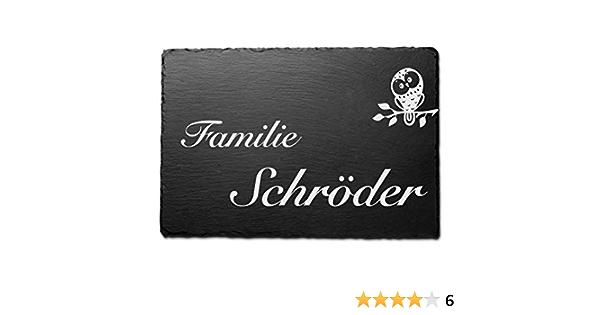 Schiefer T/ürschilder mit Gravur Gr/ö/ße 16,5x16,5 cm Namensschild Briefkastenschild selbstklebend//blank Klingelschild mit mehr als 80 Motive