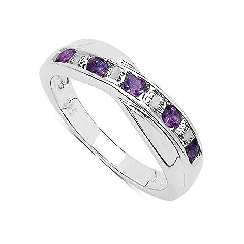La Collection A Bague du Diamant : Bague Améthyste et set les Diamants authentique en Argent pour le Cadeau Éternité ou Anniversaire taille de la bague 62