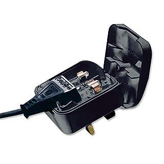 Invero® 2 Pole Euro Europe EU Plug to 3 Pin UK Plug Fused Converter Mains Socket Adapter 3A - Black
