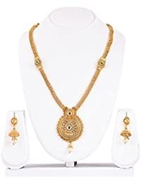 Mukh Gold Plated Necklace Set With Earrings And Austrian Diamonds