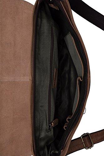 LEABAGS Liverpool Umhängetasche aus echtem Büffel-Leder im Vintage Look - OnyxBlack Braun