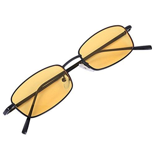 TOOGOO Gafas de sol vintage Mujeres Hombres Gafas rectangulares Gafas de sol retro pequenas Mujeres S8004 marco negro amarillo