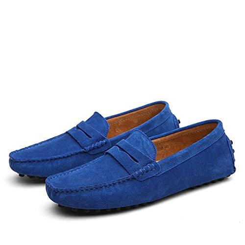 Icegrey Hommes Passant Conduite Chaussures Suède Flâneurs Bleu