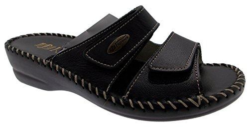 FLORANCE 22590 nero scarpe donna ciabatte pelle strappi comfort 37