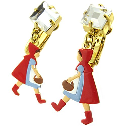 Pendientes clips caseros 'Monde Merveilleux'(caperucita roja)de oro multicolor - 35x15 mm.