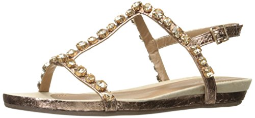 Kenneth Cole REACTION Women's Lost Catch Flat Open Toe Gemstone Accents-Metallic Gladiator Sandal