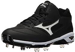 Mizuno Mens Dominant IC Mid Baseball Shoe, Black/White, 10 D US