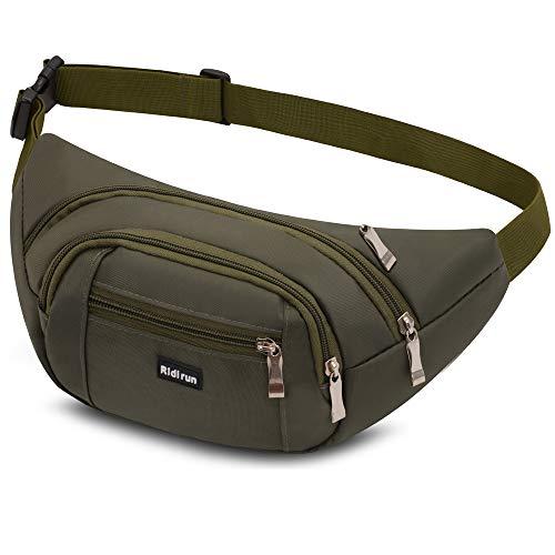 Ridirun wasserdichte Bauchtasche Gürteltasche Hüfttasche für Damen und Herren,3 Reißverschluss Taschen Wandern Outdoor Sport Hüfttasche Urlaub Geld Pouch Pack (Olive)
