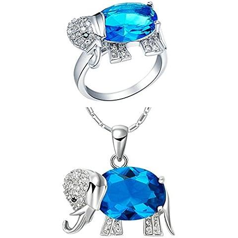 AnaZoz Joyería de Moda Simple Personalidad Chapado en Platino Juegos de Joyas Para Mujer (Collar Anillo Juegos de Joyas) Elefante Colgante Zafiro Azul Cristal