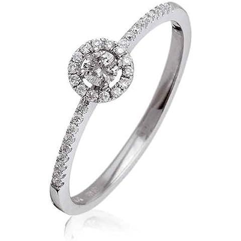 0.25ct Certificato G/VS2Round Brilliant Centro con diamante Halo Anello con diamanti sulle spalle in Oro Bianco 18K