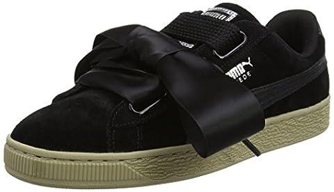 Puma Damen Suede Heart Safari Sneaker, Schwarz (Black-Black), 38.5 EU