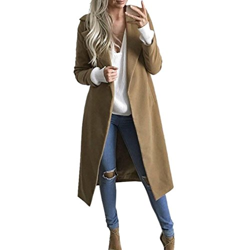 Kleidung FORH Damen Mantel Trench coat Winter wärmen Long wool coat Modisch Cardigan Mantel elegant Parka Windbreaker Jacke Strickjacke Overcoat Outwear (S, Khaki)