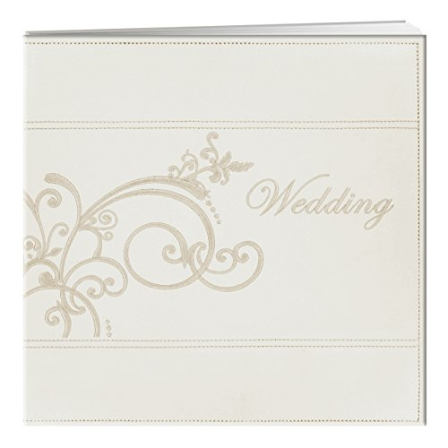Pioneer 12-Inch by 12-Inch Postbound Embroidered Scroll Sewn Leatherette Cover Memory Book, Ivory