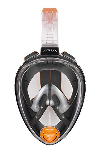 OCEAN REEF - Aria Classic Masque de Plongée - Masque de Snorkeling Intégral avec Tuba - Noir - Taille S/M