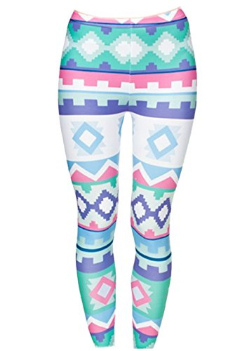 CHIC DIARY Damen bunt Sport Strumpfhose Leggings mit muster Fitness Yoga Joggen Pants Hose Mehrfarbig One size