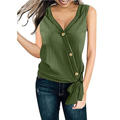 Fuibo Damen Bluse Ärmellos Oberteile V-Ausschnitt Krawatte Knoten vorne Knopf Chiffon Hemd Bluse Tops Elegant Shirt Sommer Tops Tank Tops (L, Army Green) -