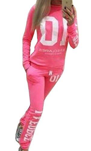 Sportivo Tuta Jogging Primavera Autunno Donna Maglie a Manica Lunga Pantaloni Tute da Ginnastica Abbigliamento Felpa Pullover Jumper Rosa