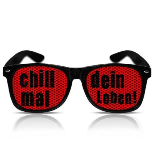 Chill mal dein Leben Partyspass Partybrille Partygag Fasching Karneval Zubehör (NERD schwarz) (Nerd-leben)