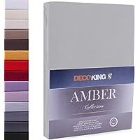 DecoKing Drap-Housse en 100% Coton Peigné Jersey, Amber Collection, 160x200-180x200 cm, Gris Acier